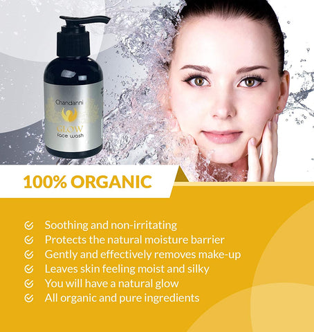 Hydrating Organic GLOW Face Wash   Fresh-Made with Natural & Organic Ingredients   Lightly Foaming Facial Cleanser for a Gentle, Non-Drying Deep Clean