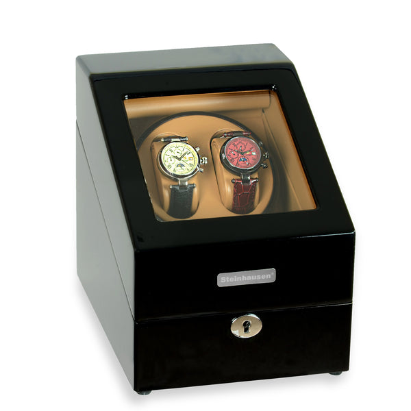 Steinhausen Heritage Double Watch Winder With Storage For 3 Watches, Ultra Quiet Motor and Multiple Modes