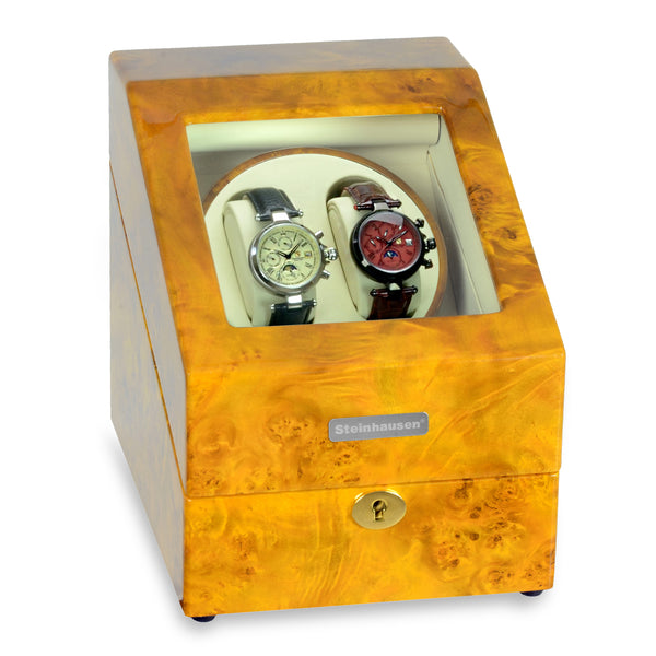 Steinhausen Heritage Double Watch Winder with Storage/Burlwood