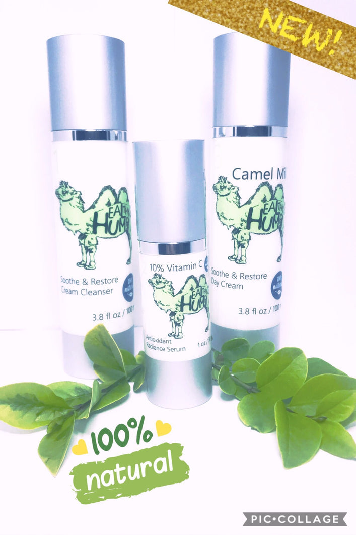 Healthy Hump 3-Step Daily Facial Regimen: Cream Cleanser, Vitamin C Night Serum, & Camel Milk Day Cream