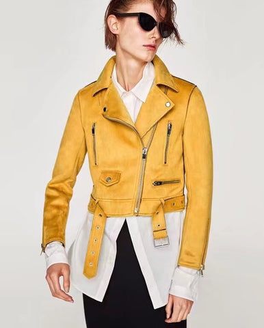 Motorcycle Soft Suede Leather Jacket Mini