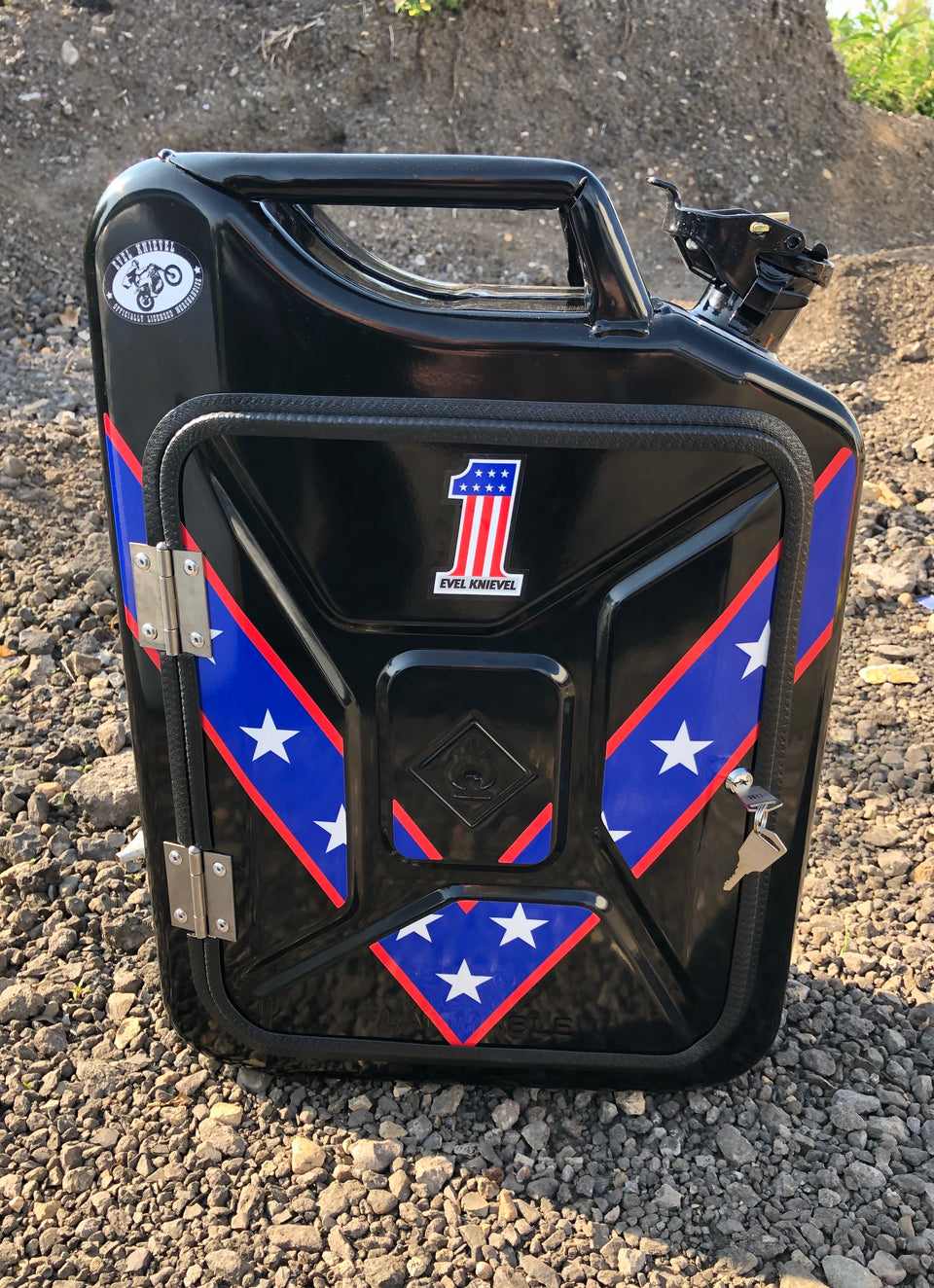 Black Evel Knievel Jerry can mini bar (licensed)