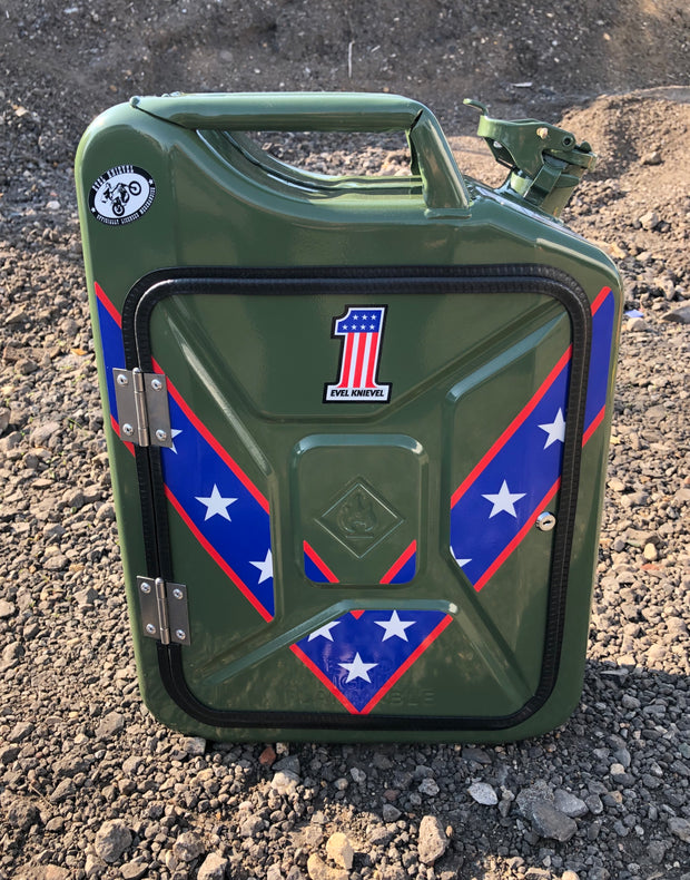 Green Evel Knievel Jerry can mini bar (licensed)