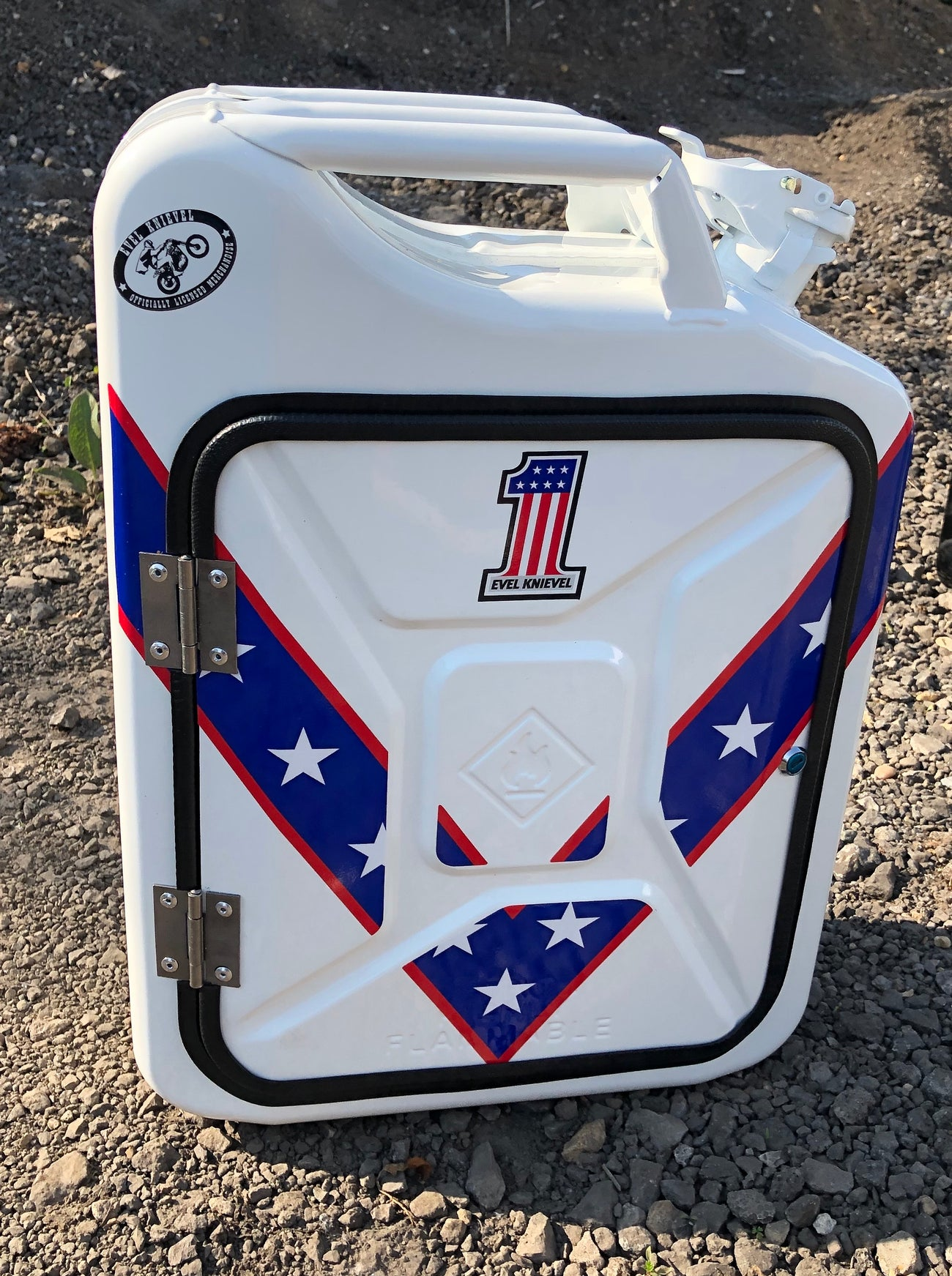 White Evel Knievel Jerry can mini bar (licensed)