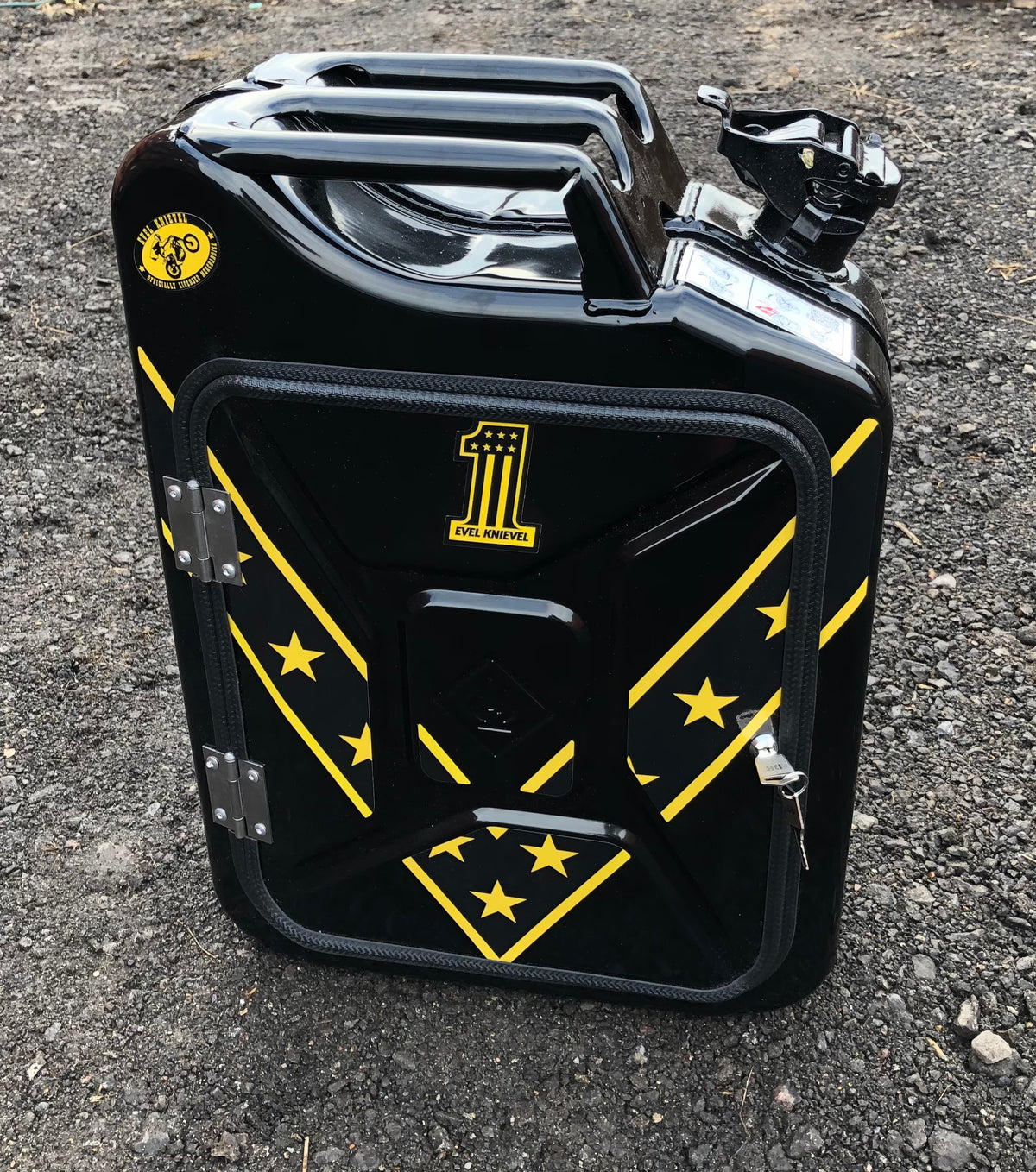 Limited edition yellow and black Evel Knievel Jerry can mini bar (licensed)