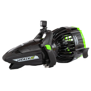 Three quarter shot of YAMAHA 350Li SEASCOOTER with mounted camera. Black casing with minimal lime green trimmings and black handles with lime green buttons. Back fan for propulsion with black casing and lime green trim