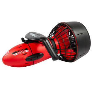 Three quarter shot of torpedo shaped YAMAHA RDS200 SEASCOOTER. Red body with minimal black trim and black handles, fan for propulsion has a black casing