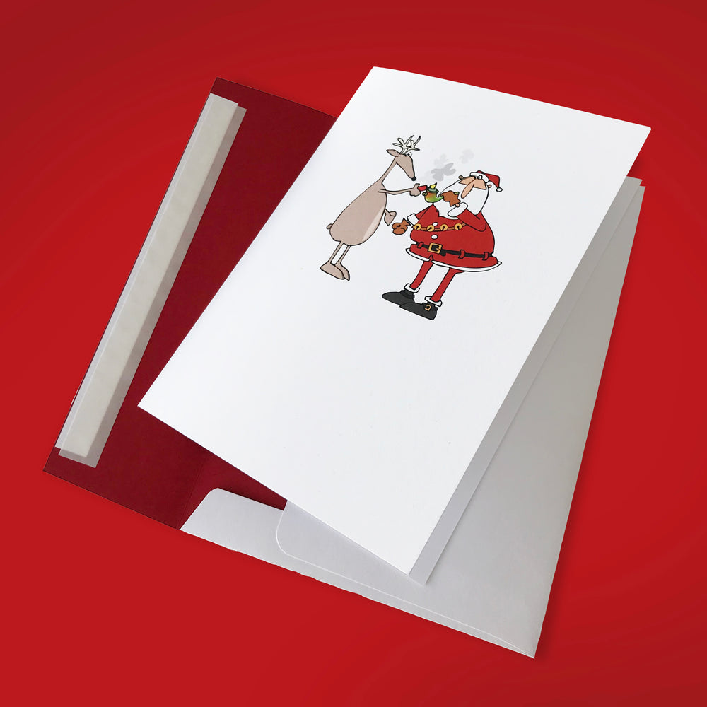 Santa Smokes 5 x 7 Holiday Card - 10 Pack - ilovemaryjane