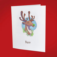 Blazer the Reindeer 5 x 7 Holiday Card - 10 Pack - ilovemaryjane