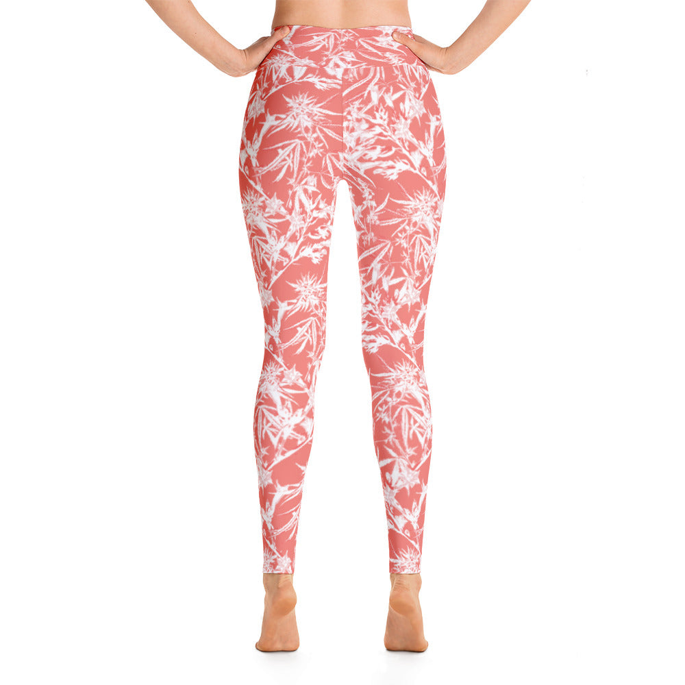 Coral Cannabis Blooms - Yoga Leggings - ilovemaryjane