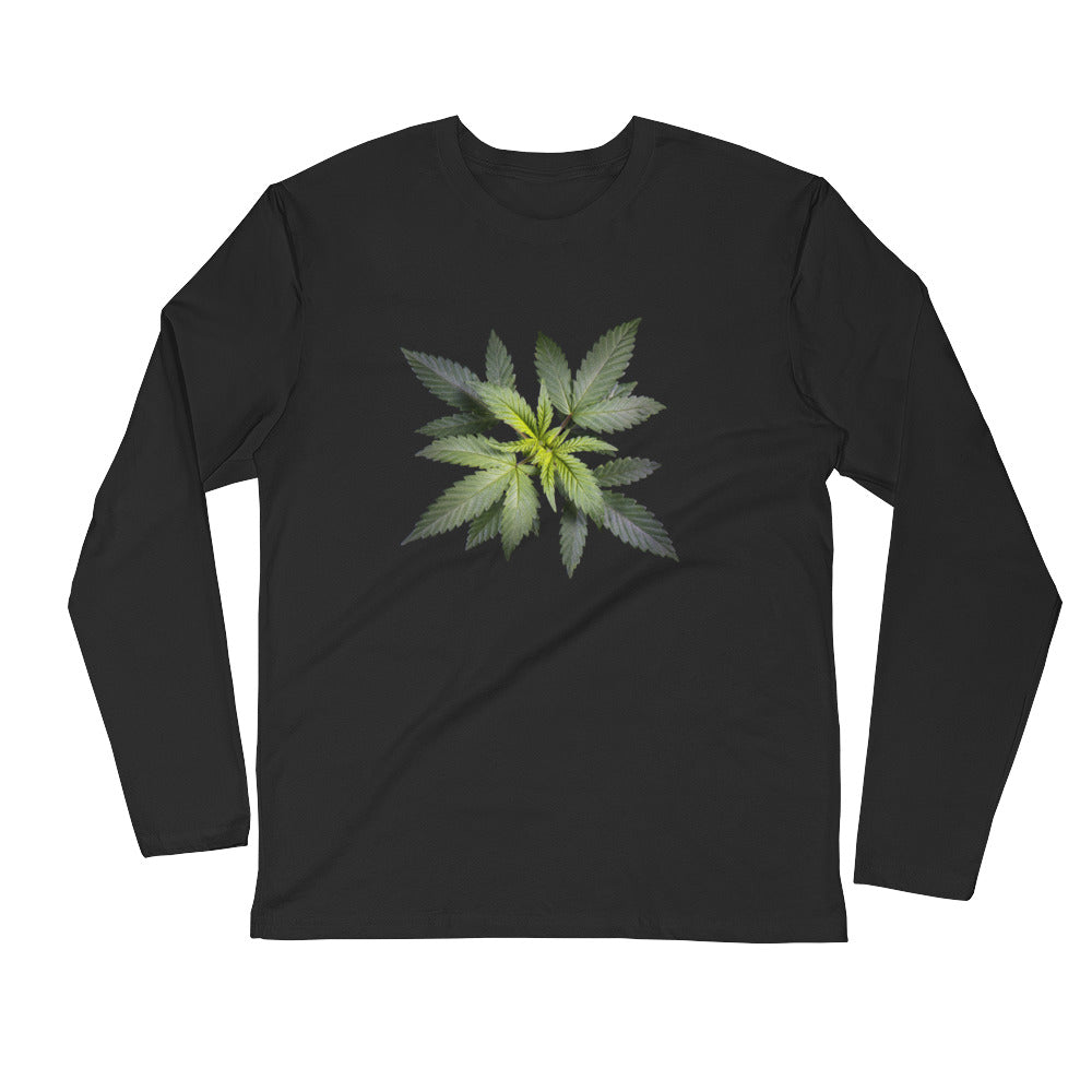 Cannabis Plant - Long Sleeve Fitted Crew - ilovemaryjane