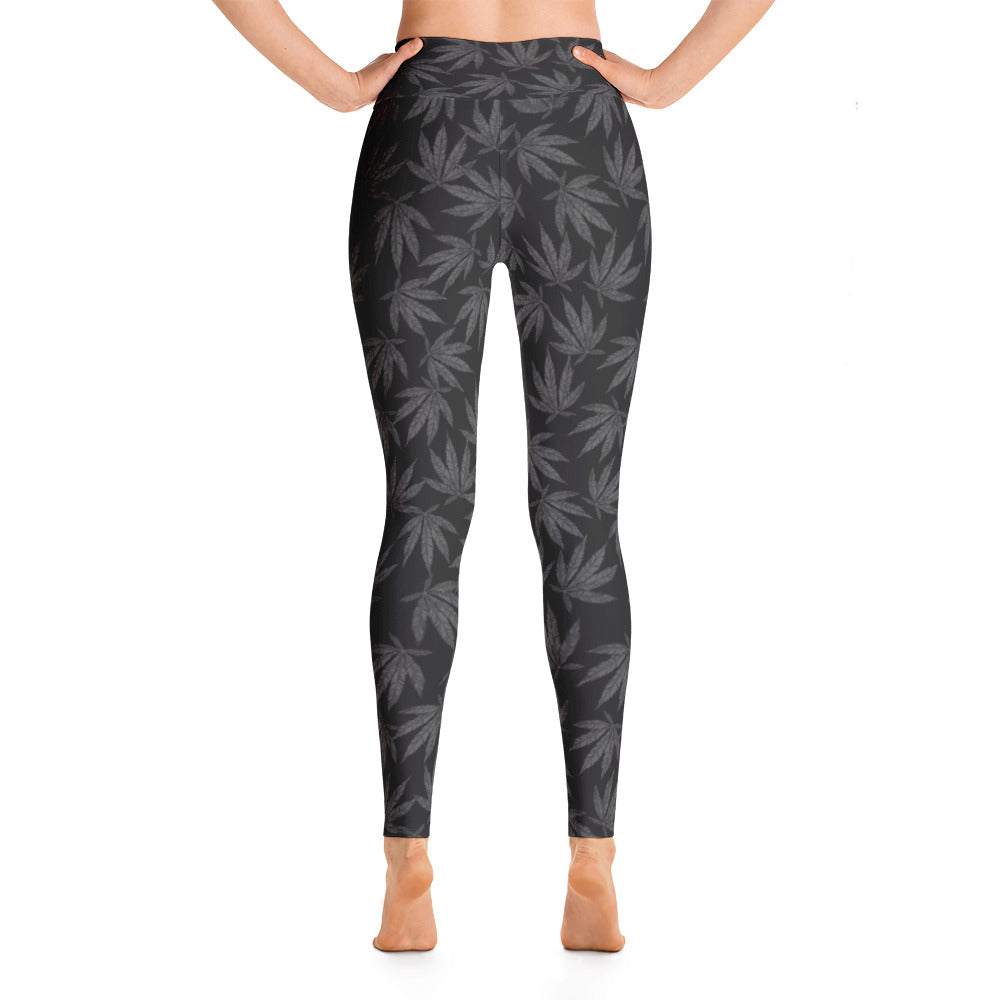 Grey Falling Leaves - Yoga Leggings - ilovemaryjane