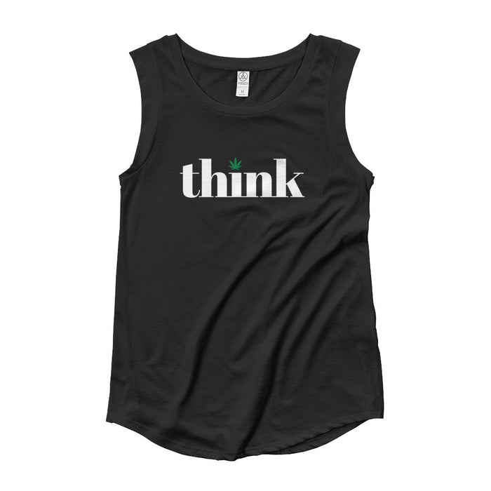 Think Cannabis - Womens' Cap Sleeve T-Shirt - ilovemaryjane