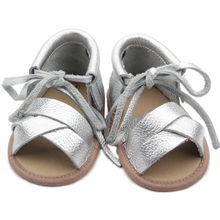 Silver strappy baby summer shoes soft soles