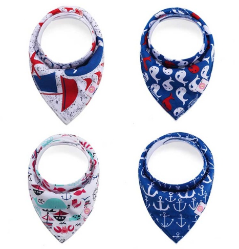 Bandana Bib - Nautical 4 pk