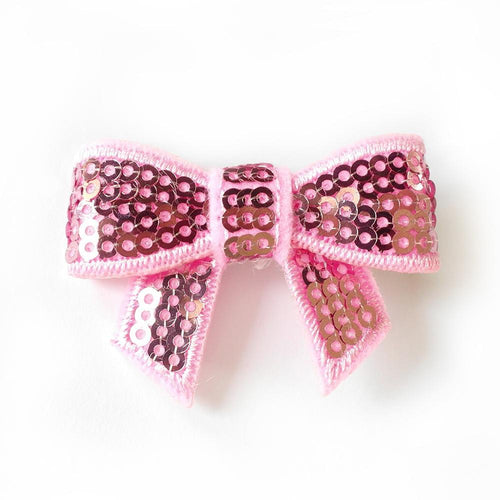 Sequin Hair Bow - Soft Pink