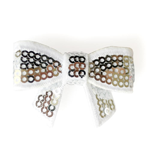 Sequin Hair Bow - Silver