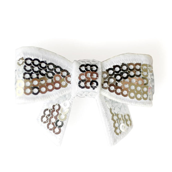Sequin Hair Bow - Silver - Two Little Feet