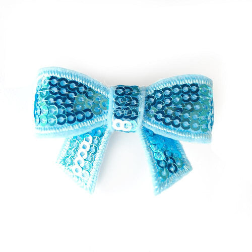 Sequin Hair Bow - Blue - Two Little Feet