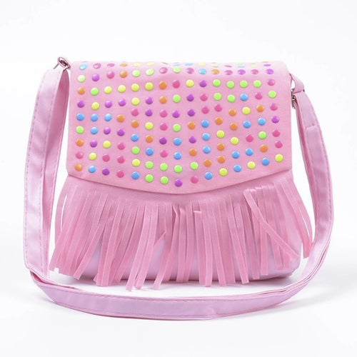 Girls Tassle Messenger Bag - Pink - Two Little Feet