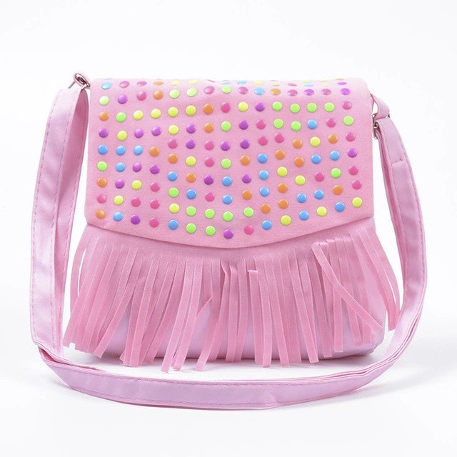 Girls Tassle Messenger Bag - Pink