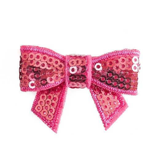 Sequin Hair Bow - Hot Pink