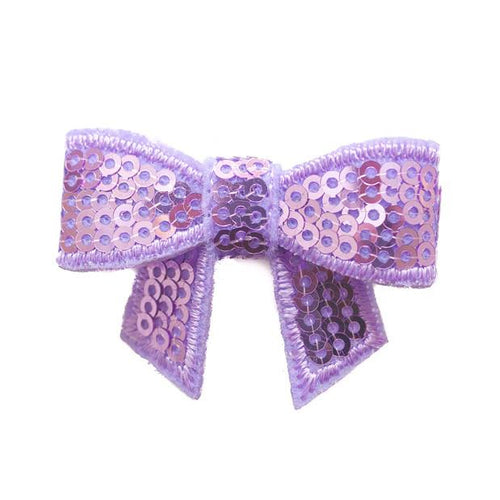 Sequin Hair Bow - Purple