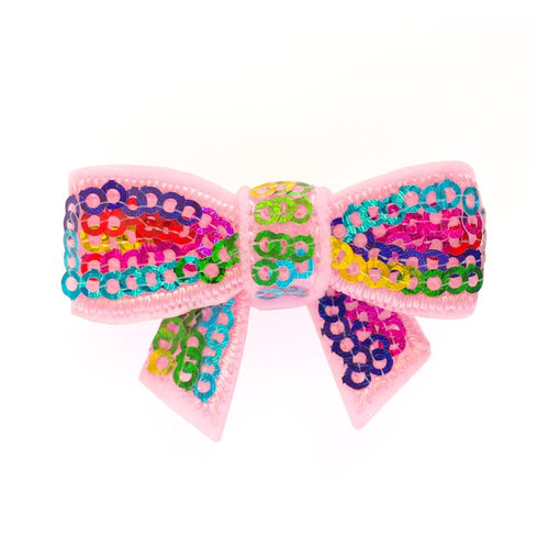 Rainbow Sequin Hair Bow - Two Little Feet