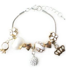 Gold Princess Charm Bracelet by Lauren Hinkley