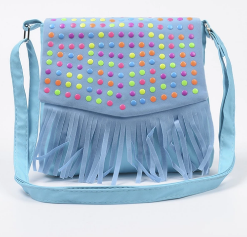 Girls Tassle Messenger Bag - Blue - Two Little Feet