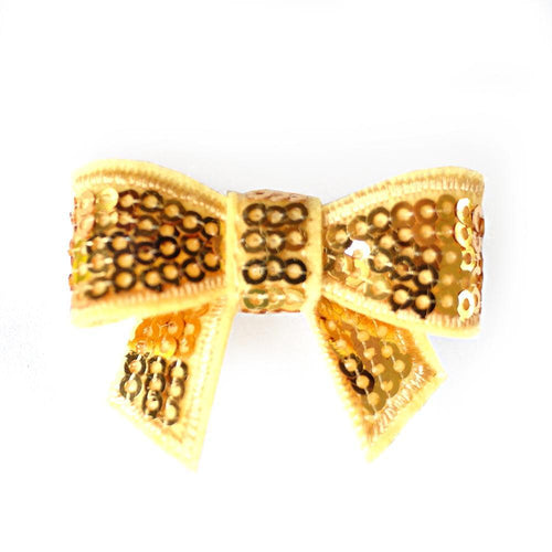 Sequin Hair Bow - Gold - Two Little Feet