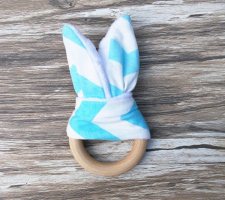 Baby Beech Wood Teether - Aqua - Two Little Feet