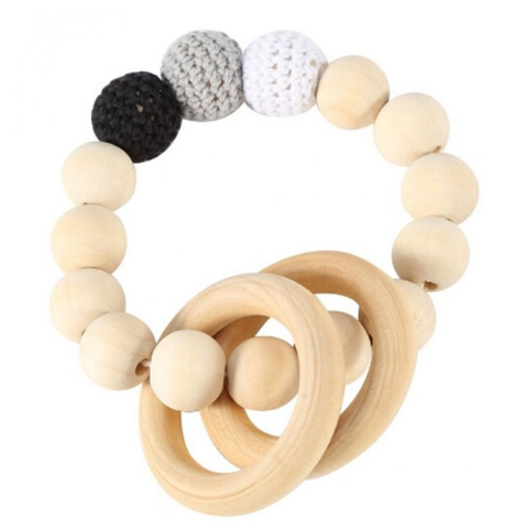 Natural Baby Teething Ring -Wooden - Black