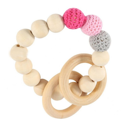 Natural Baby Teething Ring -Wooden - Pink - Two Little Feet