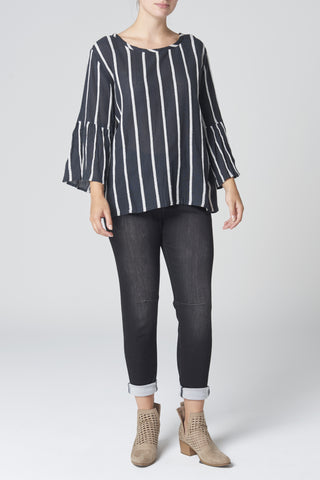 The Black & White Textured Stripe Top