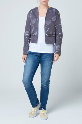 Black Print Quilted Jacket