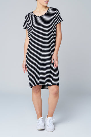 Black Stripe Short Sleeve Dress