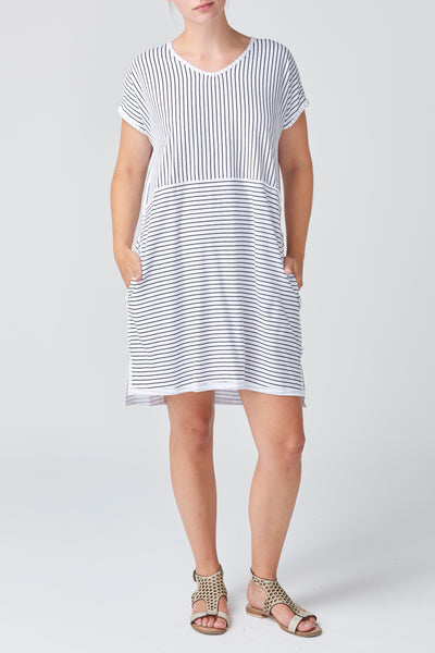 Black/White Stripe Shell Dress
