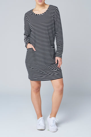 Black Stripe L/S Pocket Dress