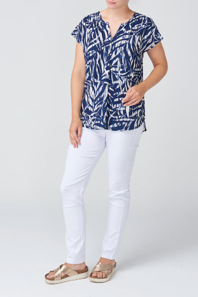 Navy Leaf Print Top