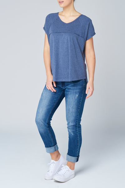 Navy Marle Slouch Tee