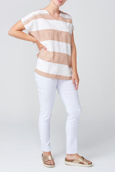 Pink Textured Short Sleeve Top