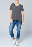 Black Stripe V-Neck Tee