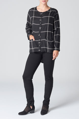 The Black & Natural Check Pocket Top