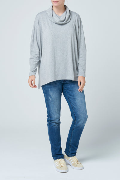 Grey Funnel Neck Slouch Tee