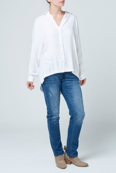The White Texture Slouch Shirt