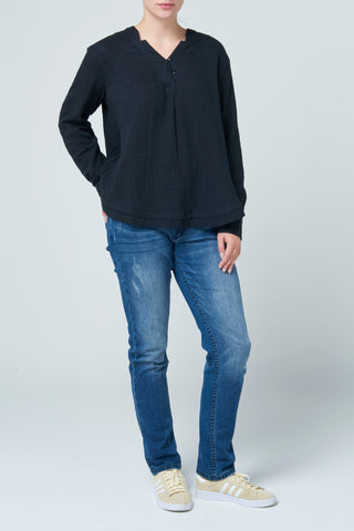 Black Bonded Cotton Long Sleeve Top
