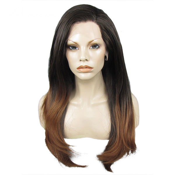Luxe Synthetic Lace Front Wig Ombre Brown 18inch