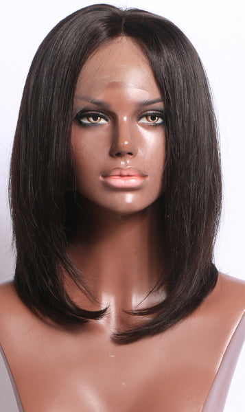 Luxe Synthetic Lace Front Wig Short Black Bob Middle part