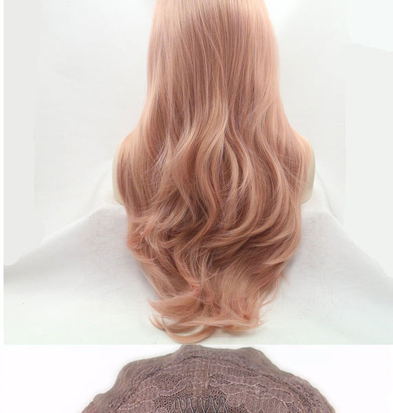 Luxe Synthetic Lace Front Wig Long Pink